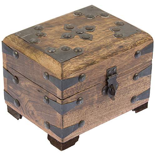 nxtbuy Holztruhe Primo - Schatzkiste im edlen Vintage-Look - Handarbeit aus Echtholz - Schatztruhe aus geflammtem Mangoholz mit Metall-Verzierungen