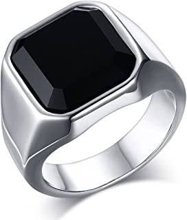 Fashion Stainless Steel Signet Rings with Black Agate for Men,Pinky Ring for Dad Father, Gift for Father's Day