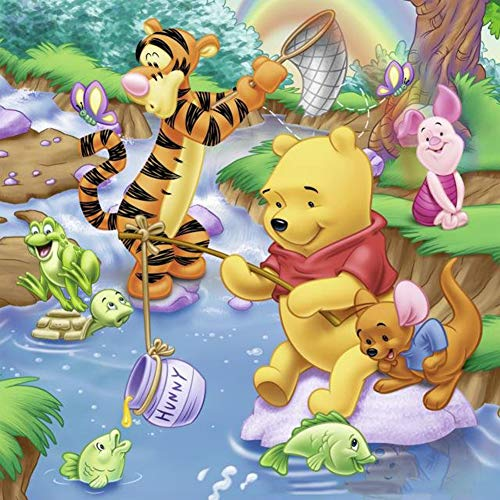 DIY 5D Diamond Painting Kit, 12'X12' Tigger Winnie The Pooh Round Full Drill Crystal Rhinestone Embroidery Cross Stitch Arts Craft Canvas for Home Wall Decor Adults and Kids