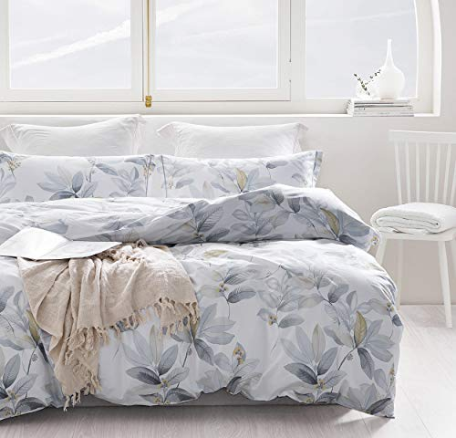 SLEEPBELLA Duvet Cover Queen, Blue Leaves & Yellow Flowers Printed on White with Cornflower Blue Embroidered Flange Cotton Comforter Cover 3 Pieces Bedding with 1 Duvet Cover, 2 Pillow Shams