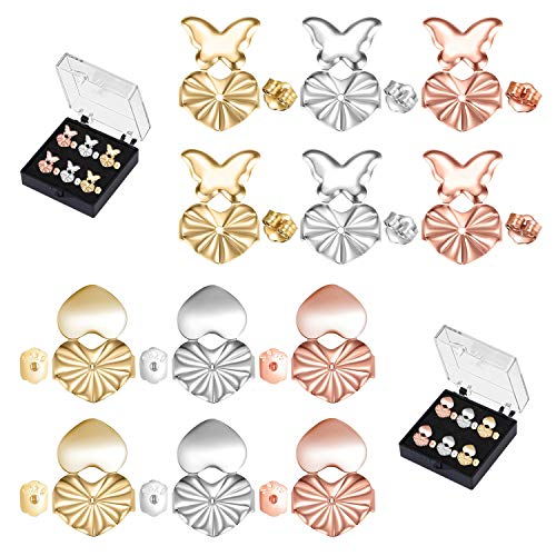 Hakkin Earring Lifters, 6 Pairs of Adjustable Earring Lifts Earring Backs with 2 Different Style (2 Pairs of Silver, 2 Pairs of Rose Gold and 2 Pairs of Gold)