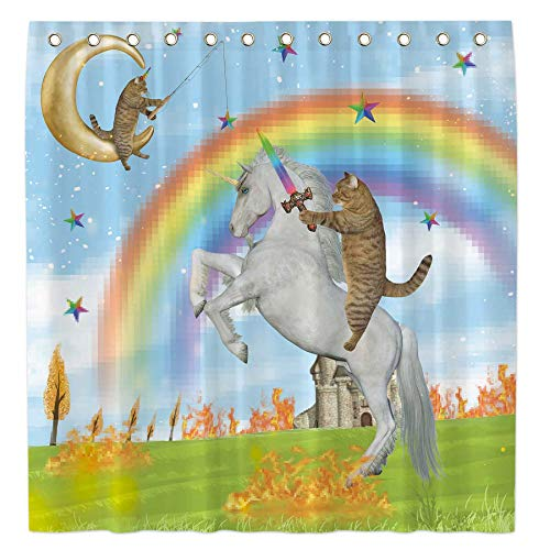 Allenjoy 72x72 Funny Cat with Sword Shower Curtain for Bathroom Set Awesome Unicorn Battle Home Bath Decor Decoration Customizable Durable Waterproof Fabric Machine Washable Curtains with 12 Hooks