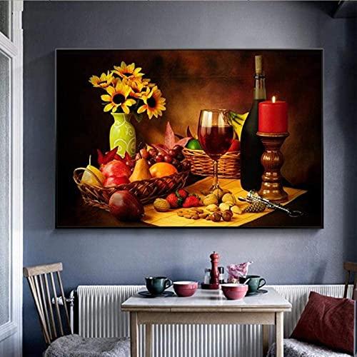 YL–wallart Cartel Moderno 50x70cm sin Marco Vida Moderna Vino y Frutas Arte de la Pared Carteles Impresión HD en Lienzo Pintura para Dormitorio Cocina Decoración del hogar