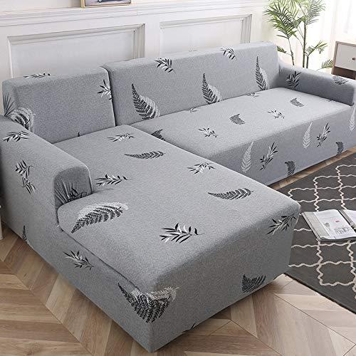 Housse universelle élastique universelle (trois + simple + quatre) grande chaise combinaison gris feuille automne G,Housses De Canapé Elastiques en Forme De L, Couverture De Canapé d'angle Convertibl