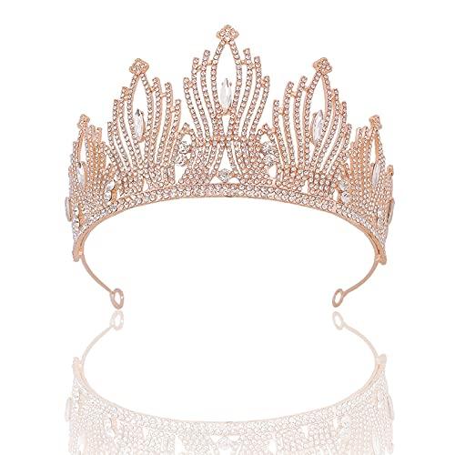 Shubiao Corona nupcial Headwear Boda Cumpleaños Corona Tocado Rhinestones Retro Lujo Accesorios para el Cabello para Mujer