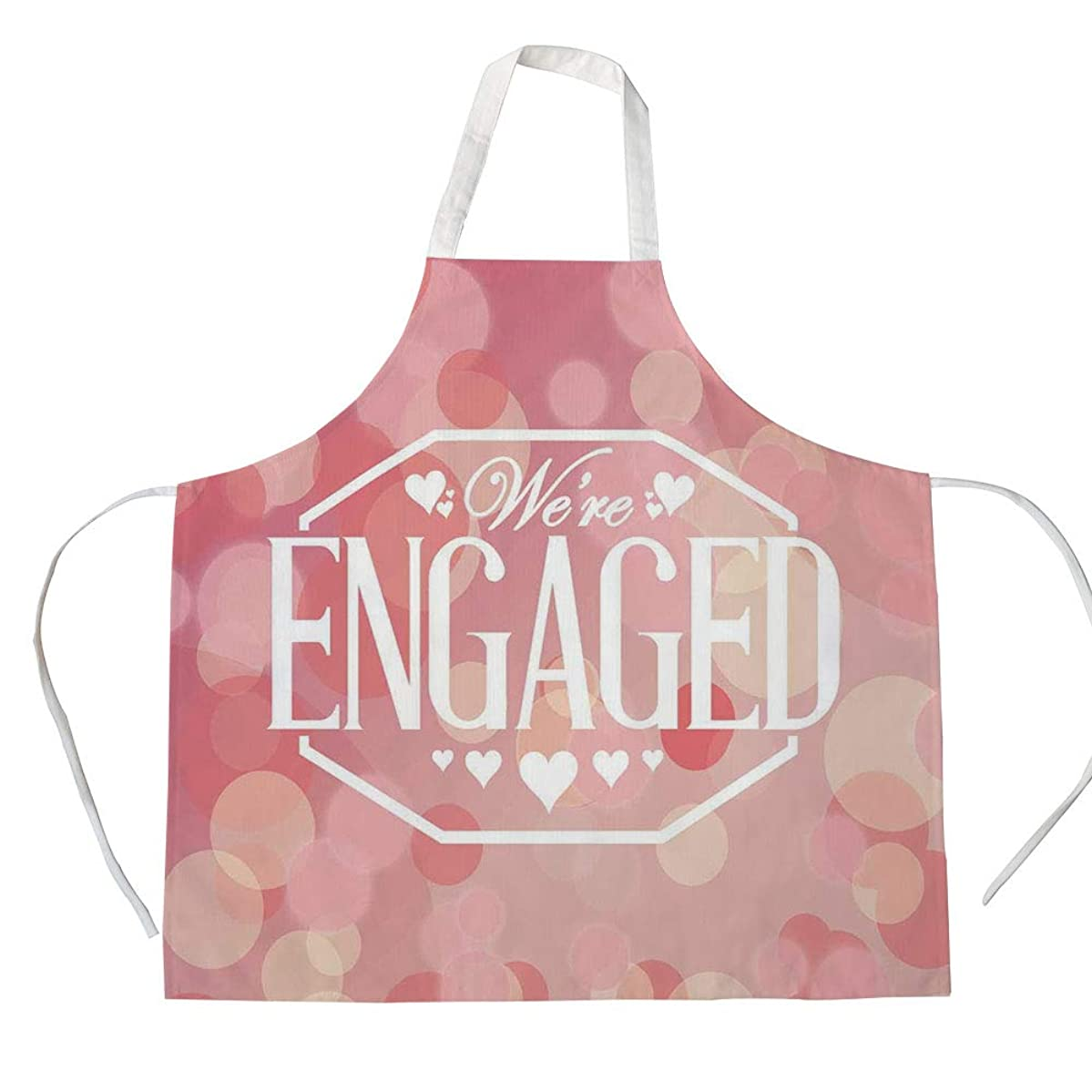 Engagement Party Decorations 3D Printed Cotton Linen Apron,Engagement Party Cards with Blurry Abstract Circles,for Cooking Baking Gardening,Salmon Pink and White