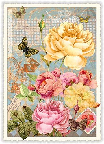 Nostalgische Postkarte mit Glitzer *...