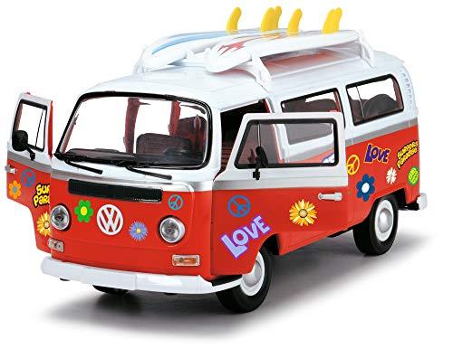 Dickie Toys Surfer Van VW Bus con Tablas de Surf, Bully, Juguete de Furgoneta, Puerta Abierta, Pegatina Adhesiva de 32 cm, a Partir de 3 años