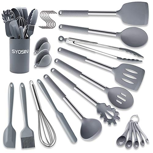 Silicone Cooking Utensils Set, SYOSIN 30 pcs Kitchen Utensils, Non-stick Heat Resistant Cooking Tools - Best Stainless Steel Handle Kitchen Cookware - Gray