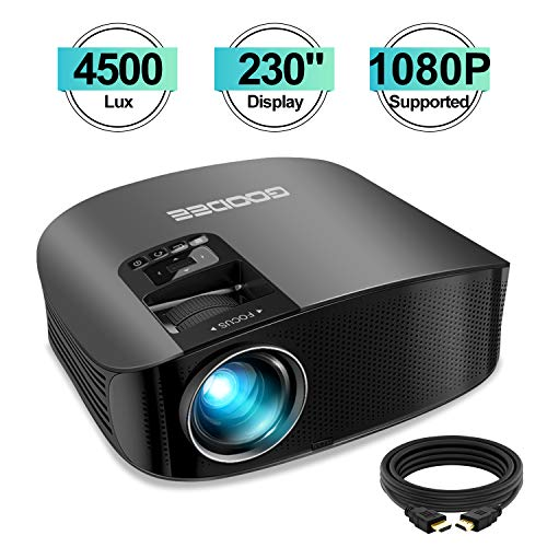 Projector, GooDee Upgrade HD Video Projector 4500L Outdoor Movie Projector, 230' Home Theater Projector Support 1080P, Compatible with Fire TV Stick, PS4, HDMI, VGA, AV and USB