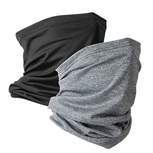 2 Pack Neck Gaiter Face Mask Scarf Reusable Bandanas Tube UV Protection Headwear Balaclava Outdoor Sport for Men and Women Black Storm Grey