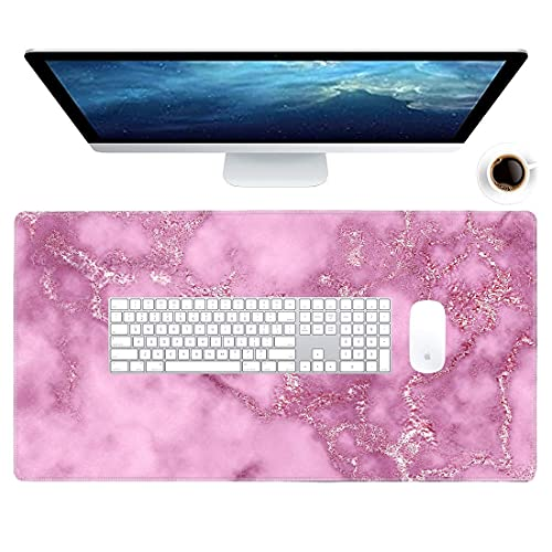 Galdas Gaming Mouse Pad Dog Pattern XXL XL Large Mouse Pad Mat Long Extended Mousepad Desk Pad Non-Slip Rubber Mice Pads Stitched Edges Thin Pad (31.5x11.8x0.08 Inch)-Pink Marble …