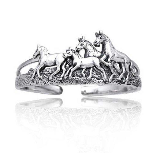 Wilde Pferde Reiter Manschette Armreif Für Damen Für Herren Antiqued Solid Sterling Silber 925