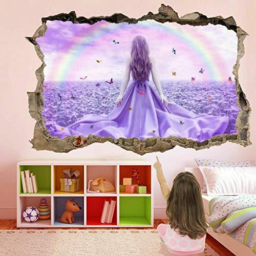 Tatuaje de pared en 3D agujero de la pared Sticker Pegatina Adhesivo Calcomanía Decoración para dormitorio o la sala de estar,Mariposa Chica Arco Iris Flores 80x125cm