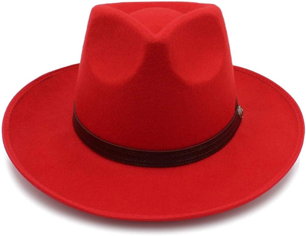 L.W.SUSL Wool Jazz Hats Large Brim Felt Cloche Cowboy Panama Fedora Hat for Women Fedora Hat with Belt Top Hat