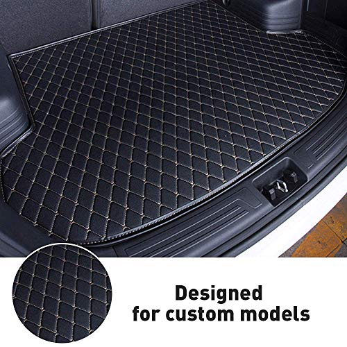 ytbmhhuoupx Customized Fit - for Bentley Continental GT/Flying Spur - Car Trunk Mat All Weather Cargo Liner Heavy Duty PVC Leather Non-Slip Pet Mats Black Beige - Flat