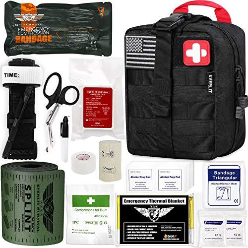"EVERLIT Emergency Trauma Kit GEN-I with Aluminum Tourniquet 36"" Splint, Military Combat Tactical IFAK for First Aid Response, Critical Wounds, Gun Shots, Severe Bleeding Control (GEN-1 Black)"