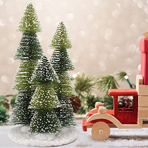 Tabletop Mini Christmas Tree, 12.4' Small Artificial Pine Christmas Tree with Snow Wood Base, Xmas Ornaments Tabletop Decor Table Xmas Retro Trees for Xmas Holiday Party Home Office Decoration