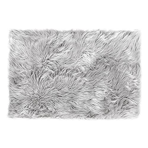 Lammfell-Teppich Kunstfell Schaffell Imitat   Wohnzimmer Schlafzimmer Kinderzimmer   Als Faux Bett-Vorleger oder Matte für Stuhl Sofa (Grau - 40 x 60 cm)