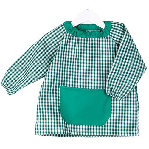 KLOTTZ PONCHO - Babi poncho sin botones guardería. Bata escolar cómoda de vestir perfecta para comedores y colegios. bebé-niños color: VERDE talla: 1