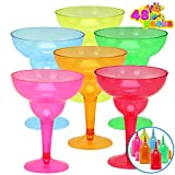 48 Packs Plastic Margarita Glasses Cups 12 oz Disposable Colorful Cinco De Mayo Fiesta Party Decoration for Fun Taco Party Supplies, Neon Cocktail Cups, Mexican Theme for Carnivals, Dia De Muertos