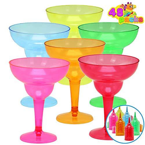 48 Packs Plastic Margarita Glasses Cups 12 oz Disposable Colorful Cinco De Mayo Fiesta Party...