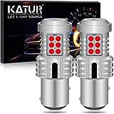 KATUR 1157 BAY15D P21/5W 1034 Bombillas LED Superbrillantes 12pcs 3030 y 8pcs 3020 Chips Canbus Error Señal de Giro Libre Freno Trasero Cola de estacionamiento Luces,Rojo Brillante(Paquete de 2)