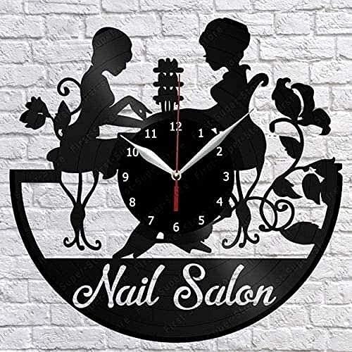 ZZLLL Salón de uñas Disco de Vinilo Reloj de Pared Fan Artista Decoración del hogar Salón Mural Retro Mujeres