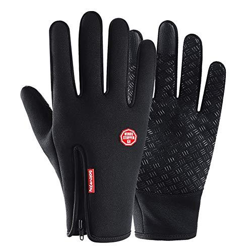 TININNA 1Paire Unisexe Gants d'hiver,Coupe-Vent Thermique Chauds en Toison Doigt Complet Écran Tactile Gloves Mitaines pour Ski Moto Vélo Voiture Randonnée Snowboard Camping Noir S