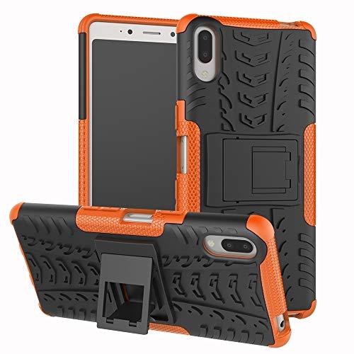 Dmtrab Para la Caja de Sony Xperia L3, la Textura del neumático TPU + PC Funda Protectora a Prueba de Golpes con el Titular (Negro) Cajas de teléfono móvil (Color : Orange)