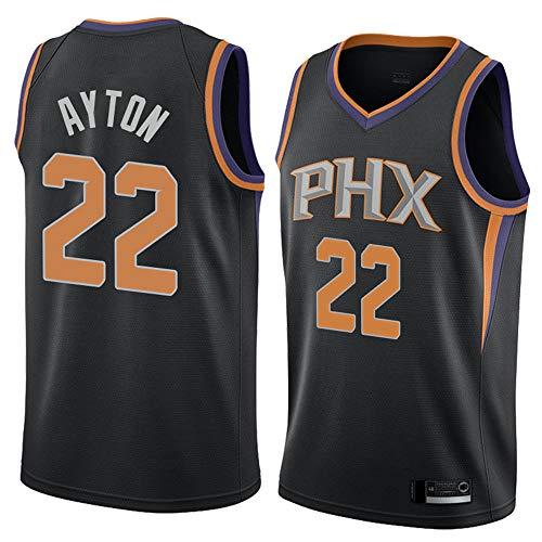 XXMM Camiseta para Hombre - NBA Phoenix Suns # 22 Deandre Ayton Uniforme De Baloncesto, Uniforme De Entrenamiento De Secado Rápido Transpirable Y Resistente Al Sudor,Negro,S(165~170CM)
