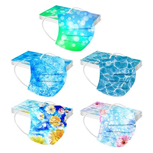 50PCs Floral Disposable Face Macks for Women, 3 Ply Face Bandanas with Colorful Rose Design (B)