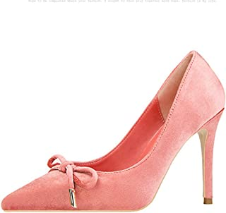 Veveca Women Comfort Ladies Bowknot Closed Pointed Toe Slip On High Heel Dress Party Pumps Stiletto Heel Dress Shoes