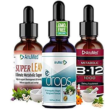 ANUMED - e-Drops Homeopathic Bundle Fat Burner Liquid Drops All Natural Weight Loss Burn Belly Fat Maintains Lean Muscle Mass Appetite Suppressant Boost Energy Metabolism Testosterone  2oz
