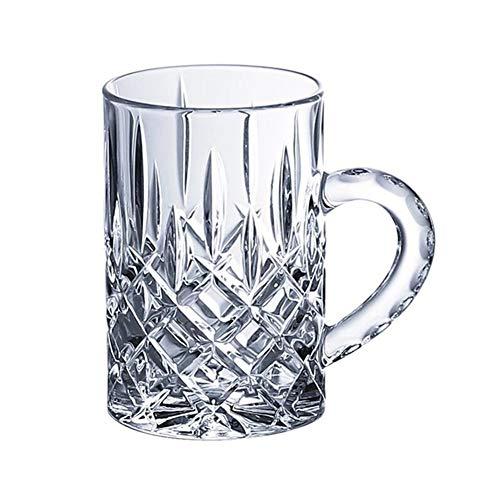 Zhenwo Bierkrüge Biergläser Bierkrug Große Kristallglas Haushalt Transparent Hitzebeständige Wasserverdickung Gravierband Bier Bier Kaffee 410Ml,M