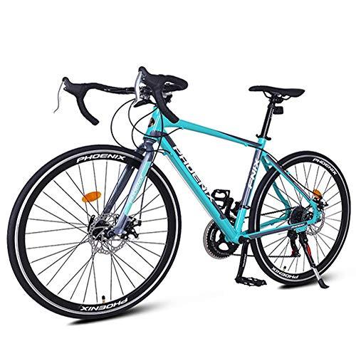 Xiaoyue 14 Speed Rennrad, Alurahmen Stadt-Pendler-Fahrrad, Mechanische Scheibenbremsen Endurance Straßen-Fahrrad, 700 * 23C Räder, Weiss lalay (Color : Blue)