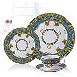 ZLININ Juego de 4 piezas de vajilla de cerámica pintada a mano estilo occidental plato de carne bocado tazón taza Set