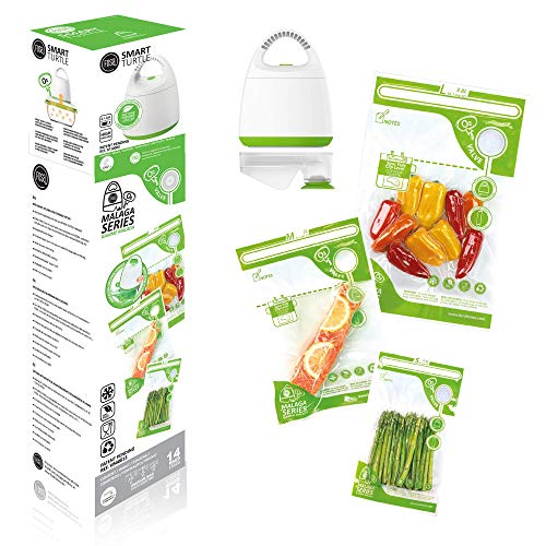 FOSA Home Starter Kit Málaga. Envasadora al vacío compacta + Adaptador + 14 Bolsas Reutilizables (4XS, 4xM, 6XL) para conservar Tus Alimentos