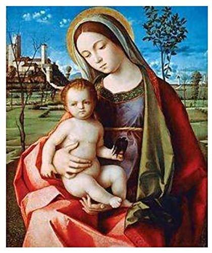 Dybjq Diamante mosaico Virgen María bebé diamante pintura arte piedras dibujo imagen colgante de pared decoración de cuentas bordado puntada 40x50cm