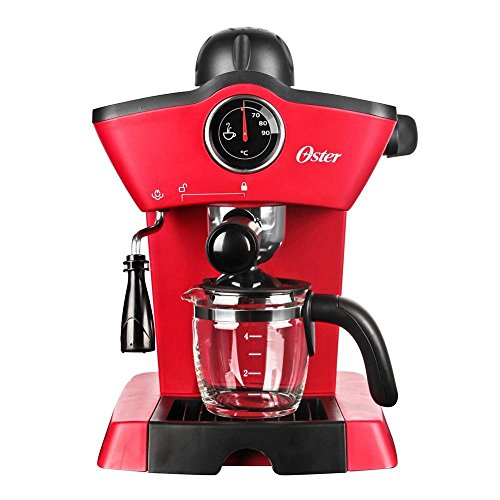 Oster BVSTEM4188 Red Steam - Cafetera para expreso y capuchino, acero inoxidable, 220 V, color rojo
