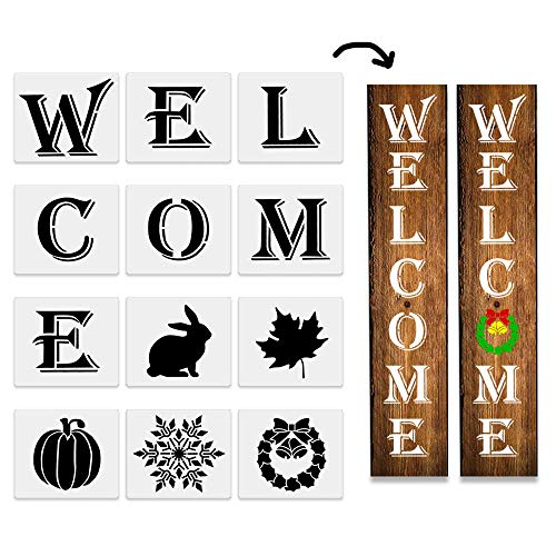 Reusable Paint Stencil Set for a Porch Sign Fall Stencil Pack Includes Farmhouse Stencils /& Holiday Word Stencils Canvas /& More Wall Art and Fall Crafts Large Fall Stencils for Painting on Wood