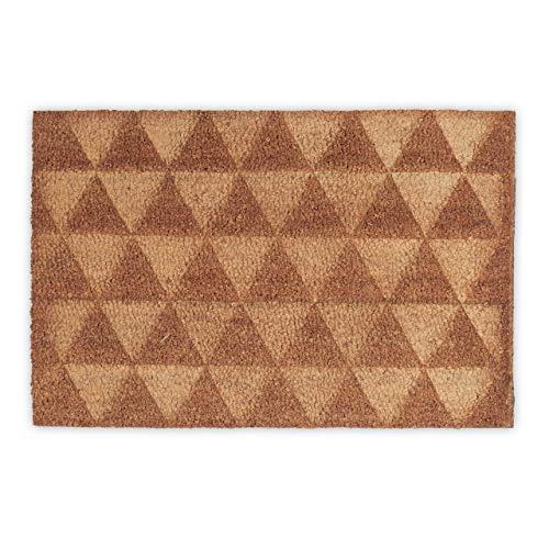 Relaxdays Felpudo Patrón Triangular, Fibra de Coco, Beige, 40x60x1.5 cm