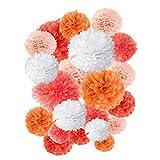 DreamJ 20 Stück Papier Bommeln Orange Pompons Blumen Ball– (25/30/35cm) Papierblumen für Hochzeit Geburtstag Tisch Wand Party Dekoration - Wassermelonenrot/Orange/Pfirsichorange/Orange Rot/Weiß