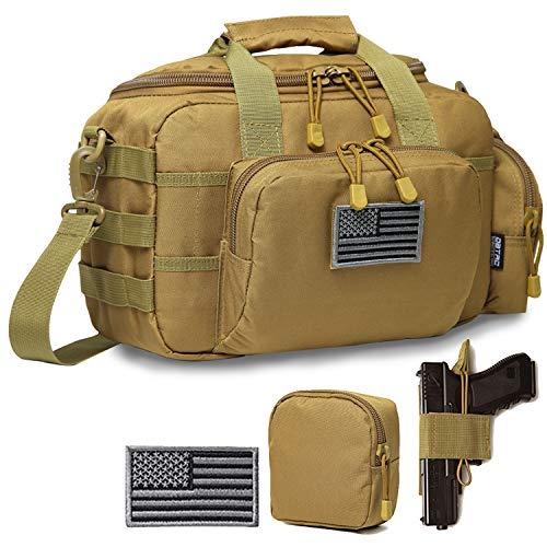 DBTAC Gun Range Bag Small | Tactical 2X Pistol Shooting Range Duffle Bag with Lockable Zipper for Handguns and Ammo (Tan)