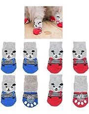 8 piezas de calcetines antideslizantes para perros, patrón de oso lindo, zapatos de protector de pata de control de tracción para interiores, para perros pequeños, cachorros, gatos (tamaño mediano)