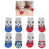 8 pezzi calzini per cani antiscivolo, simpatico orso modello per interni controllo della trazione zampa di protezione scarpe per cani di piccola taglia cucciolo di gatto