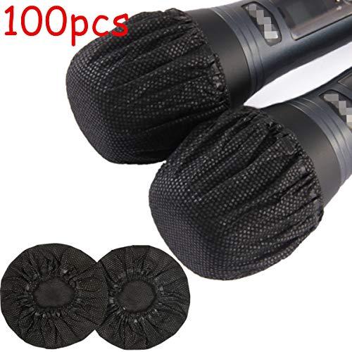 YianBestja 100 Stück Einweg Vliesstoff Mikrofon Funkmikrofon Abdeckungen Mic Cover für Karaoke Live-Auftritte Party Schule (Schwarz)
