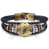JewelryWe Bijoux Bracelet Homme Scorpion Signe Astrologique Zodiaque Zodiac Charms Perle Manchette Cuir Alliage Fantaisie pour Homme et Femme Chaîne de Main Couleur Noir