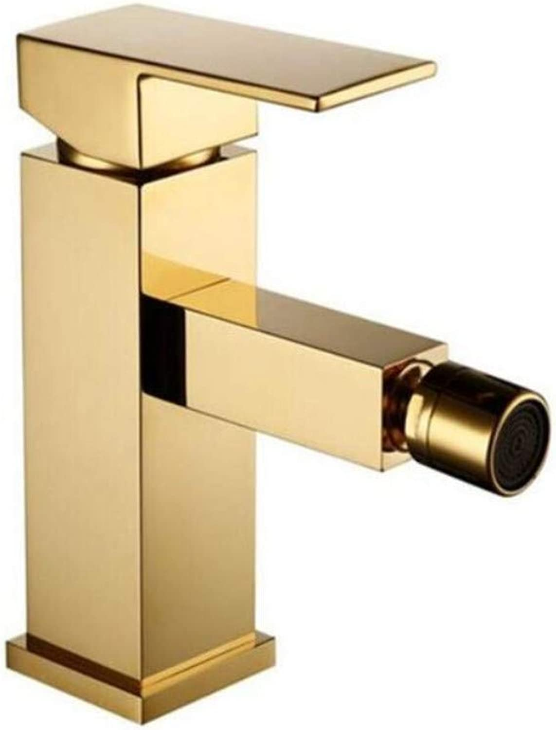 Brass Chrome Hot and Cold Water Bathroom Faucet Brass Square Style gold Finish Bidet Single Lever Mixer Water Tap