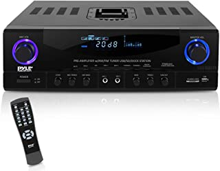 Pyle Home PT4601AIU 500 Watts Stereo Receiver Am-FM Tuner/USB/SD/iPod Docking Station and Subwoofer Control
